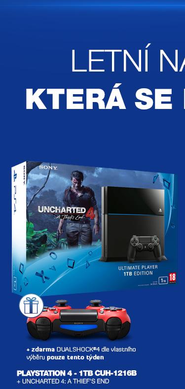 SONY PlayStation 4 - 1TB Black CUH-1216B + Uncharted 4: A Thief's End
