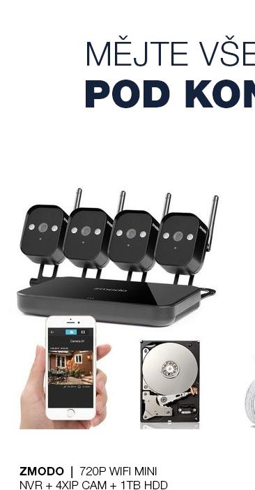 ZMODO 720P Wifi Mini NVR+4xIP CAM+1TB HDD černý